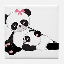 Cute Mom & Baby Panda Bears Tile Coaster