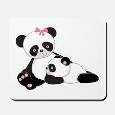 Cute Mom & Baby Panda Bears Mousepad