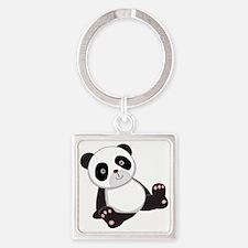 Cute Baby Panda Bear Square Keychain