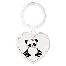 Adorable Panda Heart Keychain