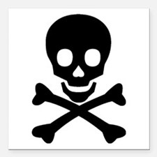 "Skull & Crossbones Square Car Magnet 3"" x 3"""