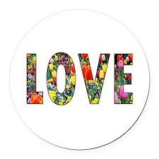 Love & Flowers Round Car Magnet
