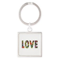 Love & Flowers Square Keychain