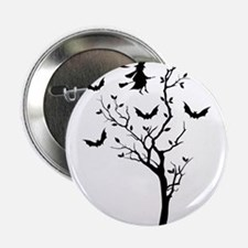 """Halloween tree with flying witch and bats 2.25"""" Bu"""