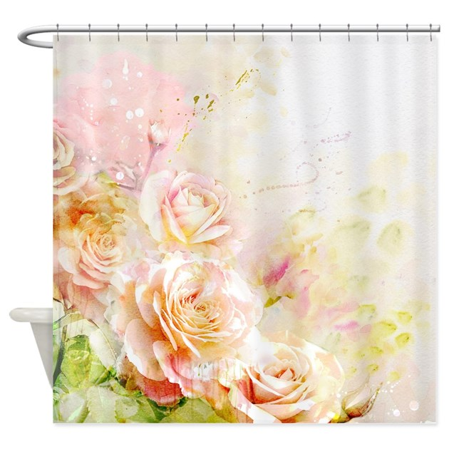 Watercolor Roses Shower Curtain By Showercurtainshop
