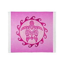 Maori Pink Turtle Throw Blanket