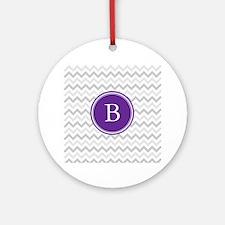 Purple Grey Chevron Ornament (Round)