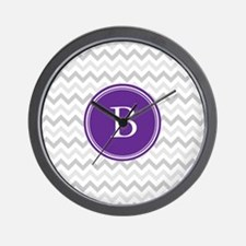 Purple Grey Chevron Wall Clock