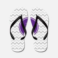 Purple Grey Chevron Flip Flops