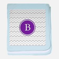 Purple Grey Chevron baby blanket