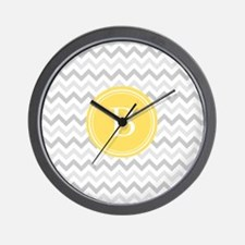 Yellow Gray Chevron Wall Clock