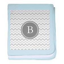 Shades of Grey Monogram baby blanket