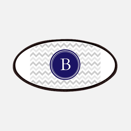 Navy monogram grey chevron Patches