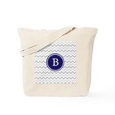 Navy monogram grey chevron Tote Bag
