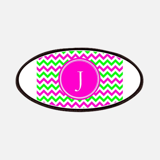 Pink Green Monogram Chevron Patches