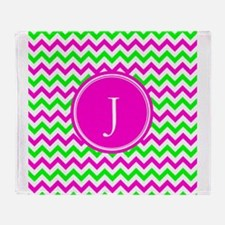 Pink Green Monogram Chevron Throw Blanket