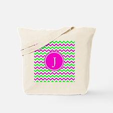 Pink Green Monogram Chevron Tote Bag