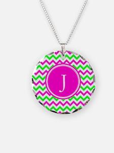 Pink Green Monogram Chevron Necklace