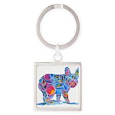 French Bulldog Love Square Keychain