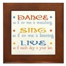 Dance Sing Live Framed Tile