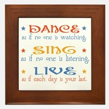 Dance Sing Live Framed Tile