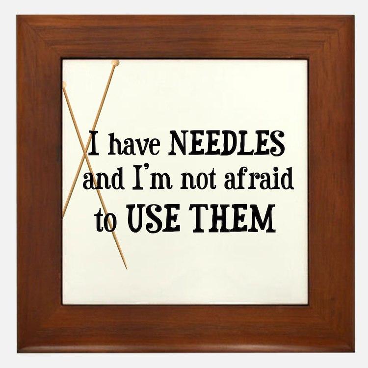 Knitting - I Have Needles Framed Tile