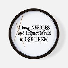 Knitting - I Have Needles Wall Clock
