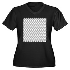Grey Chevron Plus Size T-Shirt