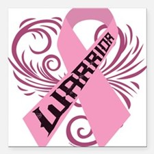 "Breast Cancer Warrior Square Car Magnet 3"" x 3"""