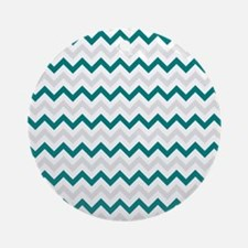 Turquoise and Grey Chevron Ornament (Round)