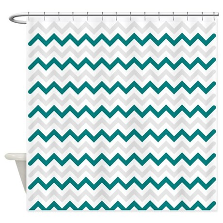 Turquoise And Grey Chevron Shower Curtain By Admin CP49789583