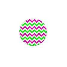 Pink and Green Chevron Mini Button