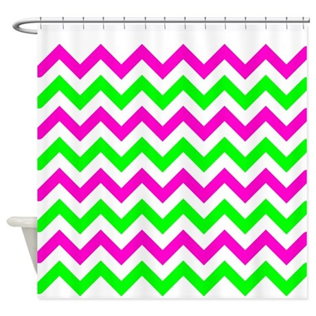 pink and green chevron shower curtain by admin cp49789583