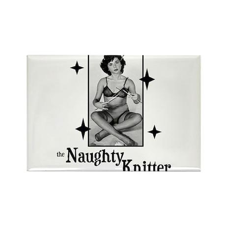 The Naughty Knitter Rectangle Magnet