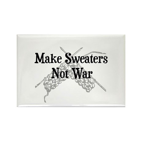 Make Sweaters Not War - Knit Rectangle Magnet