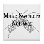 Make Sweaters Not War - Knit Tile Coaster
