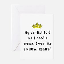 Dentist Crown Greeting Cards