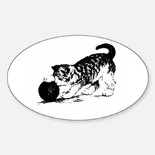 Kitten with Yarn Oval Decal