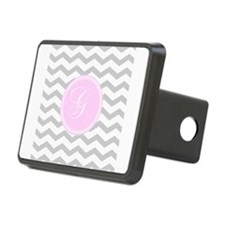 Pink and Grey Monogram Chevron Hitch Cover