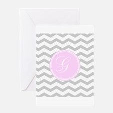 Pink and Grey Monogram Chevron Greeting Cards