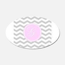 Pink and Grey Monogram Chevron Wall Sticker