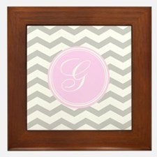 Pink and Grey Monogram Chevron Framed Tile