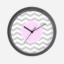 Pink and Grey Monogram Chevron Wall Clock