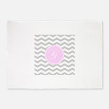Pink and Grey Monogram Chevron 5'x7'Area Rug