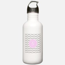 Pink and Grey Monogram Chevron Sports Water Bottle
