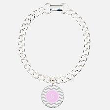 Pink and Grey Monogram Chevron Bracelet