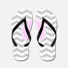 Pink and Grey Monogram Chevron Flip Flops