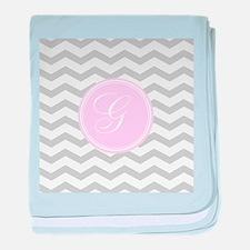 Pink and Grey Monogram Chevron baby blanket