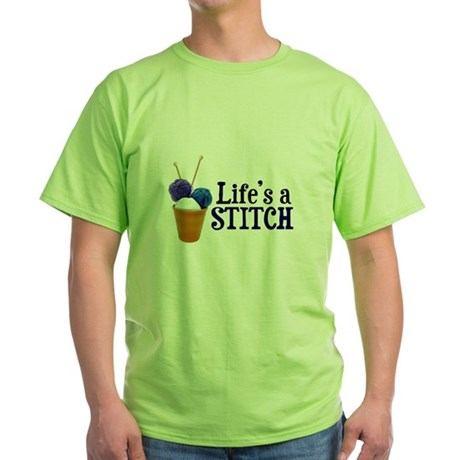 Knitting - Life's a Stitch Green T-Shirt