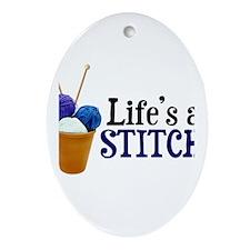 Knitting - Life's a Stitch Oval Ornament